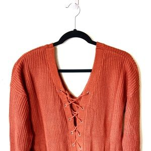 Charlotte Russe • Lace Up Sweater